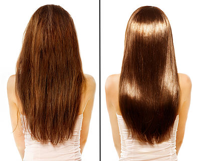 Hair. Before and After Advertising Portrait. Hairstyle. Haircare